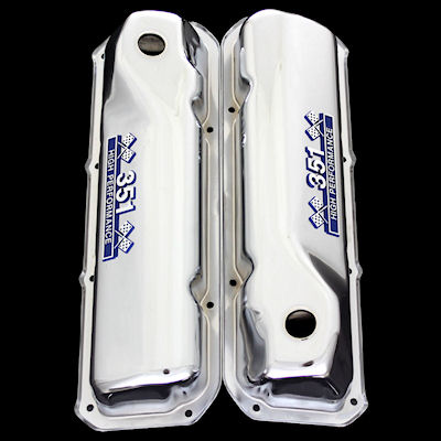 chrome ford 351 cleveland valve covers with 351 emblems