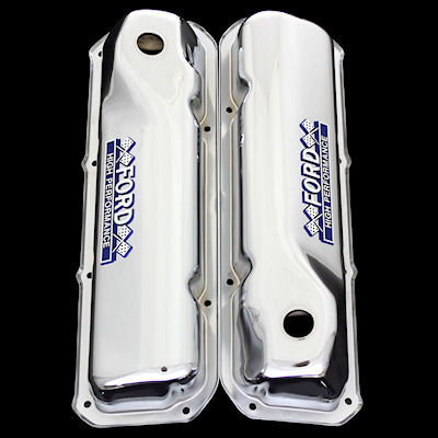 chrome ford 351 cleveland valve covers with ford emblems