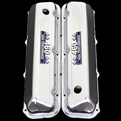 chrome ford bb valve covers fit 460 with 460 emblems