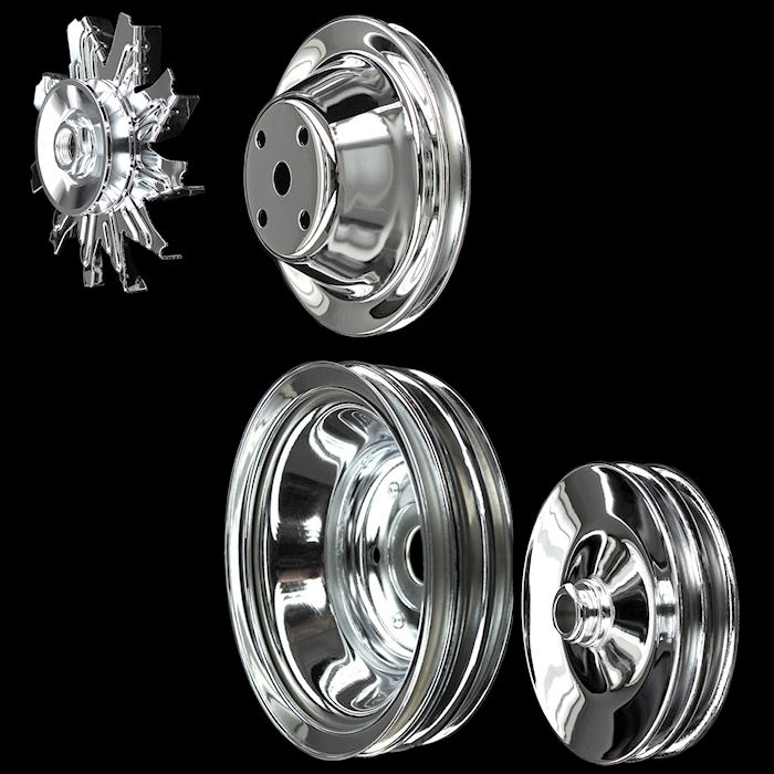 chrome long water pump small block chevy pulley set 283 327 350 383 400 press on