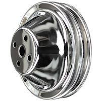 Chevy chrome pulleys